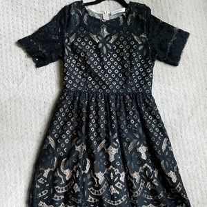 Nude Dress w/ Black Lace Overlay, Fits Like M, NWT